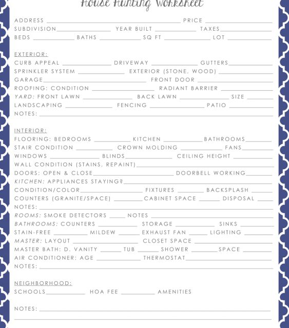 Collection of House Hunting Worksheet - Sharebrowse