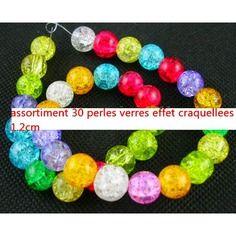 Perles sur alittlemercerie   30   perles rondes  verre effet craquelees 1cm creation de collier-creation bijoux-collier perle-creation collier perles