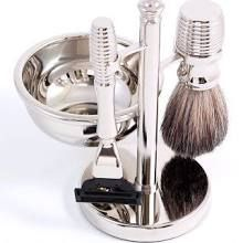 Timeless Stainless Steel Shaving Kit, with Lathering Bowl (Engravable)