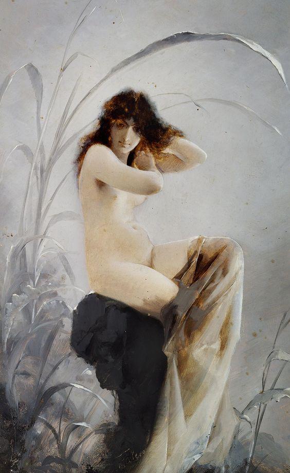 """Luis Ricardo Falero, """"A bathing nymph"""""""