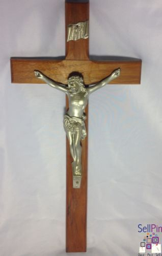 $39.99: Vintage Catholic Wood Cross Solid Metal Figure Of Jesus Wall Cross Holy Crucifix