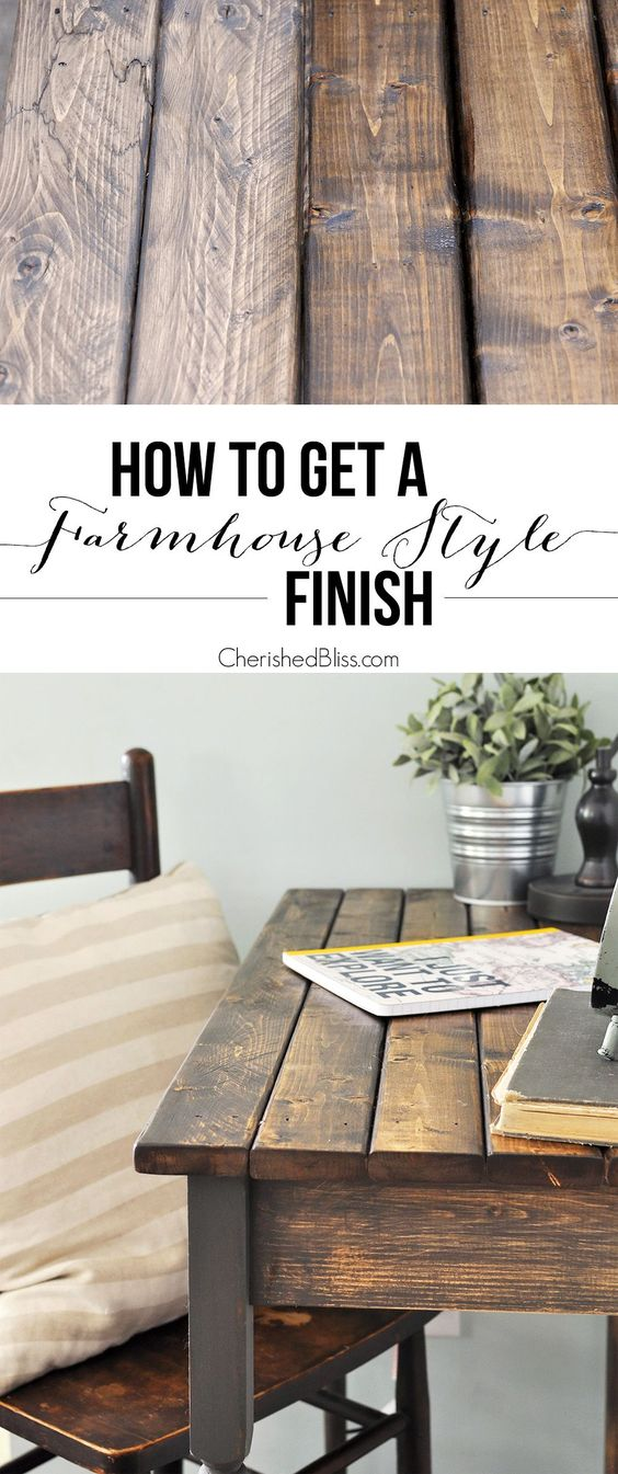 Easy step-by-step tutorial for finishing raw wood or furniture. With this technique you can apply a Farmhouse Style Finish to your next DIY project.