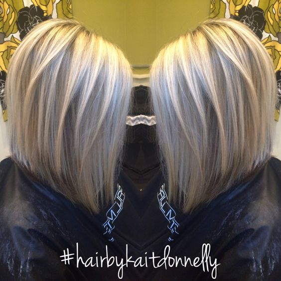 Platinum Cool Blonde Long A Line Bob Hairbykaitdonnelly