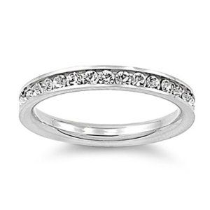 #7: 316L Stainless Steel Eternity CZ Wedding Band Ring 3mm Sz 3-10; Comes With FREE Velour Pouch And Gift Box.