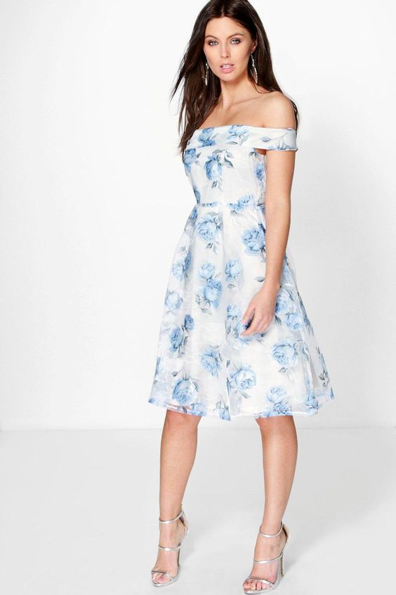 Katy Floral Organza Off The Shoulder Skater Dress:   Wedding guest dresses UK a292db324567b038fe2ee98ce308f1fe