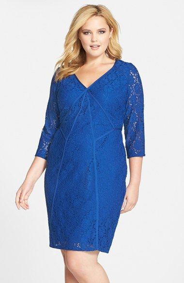 Adrianna Papell Stretch Lace Sheath Dress with Back Cutout (Plus Size) available at #Nordstrom