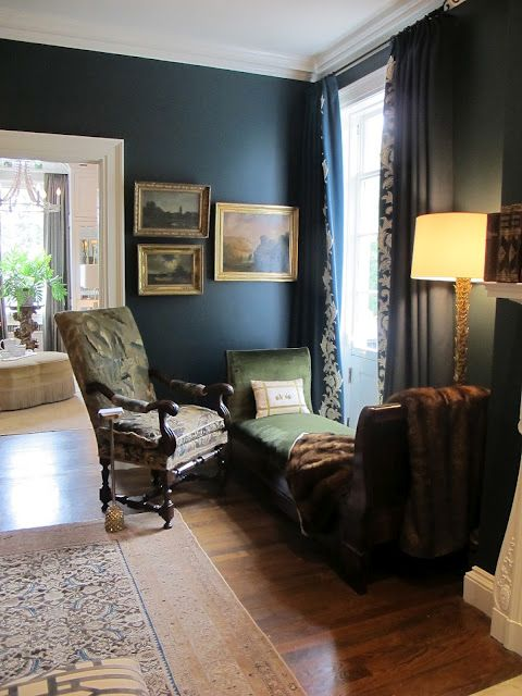 This color was breathtaking!  BM Narragansett Green HC 157.  Kind of a cross between teal and navy.