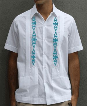 D'Accord Short Sleeve Poly Cotton White and Turquoise Mexican Guayabera Wedding Shirt $55