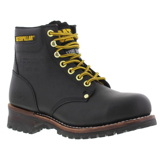 Caterpillar Mens Sequoia 6 Inch Steel Toe Boots Black