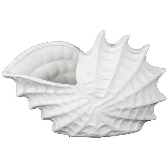 Ceramic Sea Shell Figurine ❤ liked on Polyvore featuring home, home decor, ceramic figurines, ceramic home decor and seashell home decor