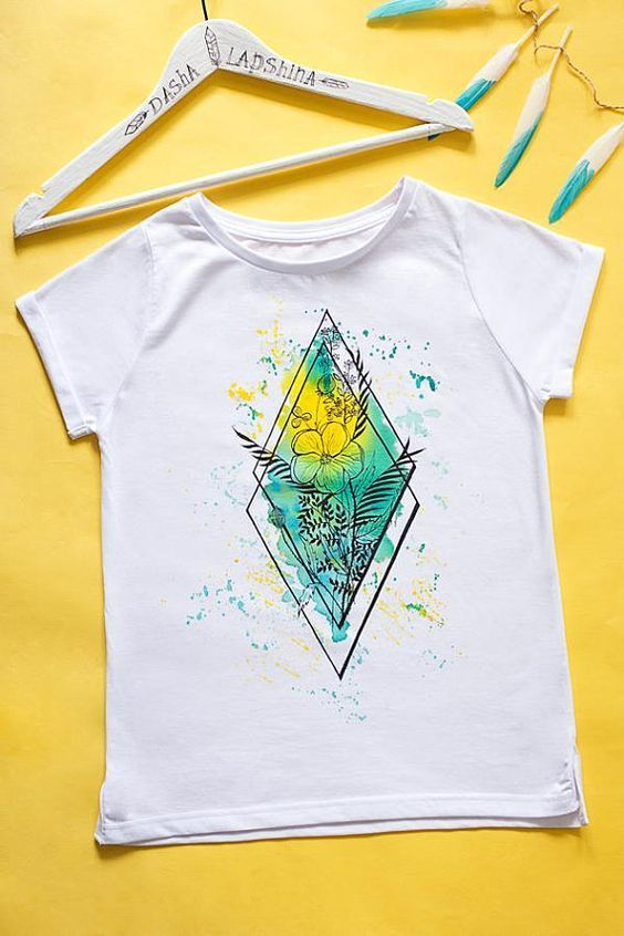 Watercolor Women T Shirt Fd01 In 2020 T Shirt Painting Fabric