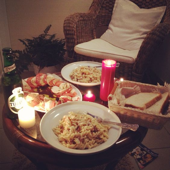 """If you can cook, why not decorate your kitchen and cook for your """"man"""". Make it look romantic at the same time! If you can't cook, get a meal to go, and set it up like a dinner that you made."""