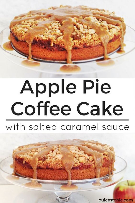 Apple pie coffee cake recipe with salted caramel sauce. This easy ...