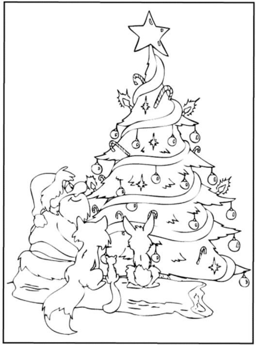 Santa And Animals Under Christmas Tree Christmas Coloring Santa And Tree Coloring Page