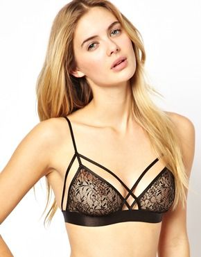 Lace and harness bra