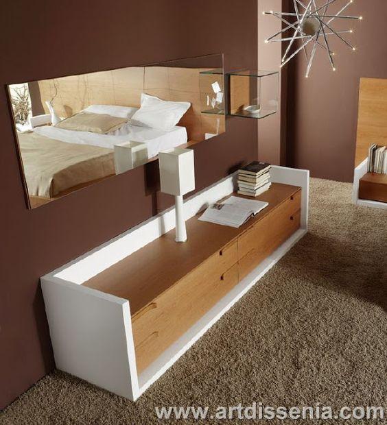 Dormitorio Matrimonial En Madera Color Blanco Y Marr N