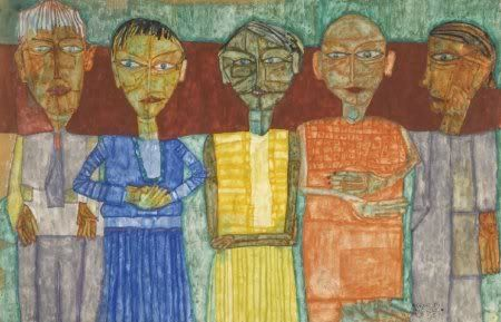 Friedensreich Hundertwasser, Five men standing, 1951, watercolour, chalk and glue on paper : Kunstvaria | De avonturen van de ArgusvlinderDe avonturen van de Argusvlinder