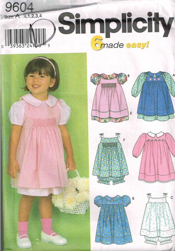 Simplicity 9604 Toddler Dress Pinafore and Panties Sewing Pattern by PeoplePackages