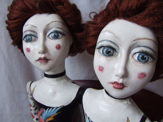 OOAK Tattooed twin girls.