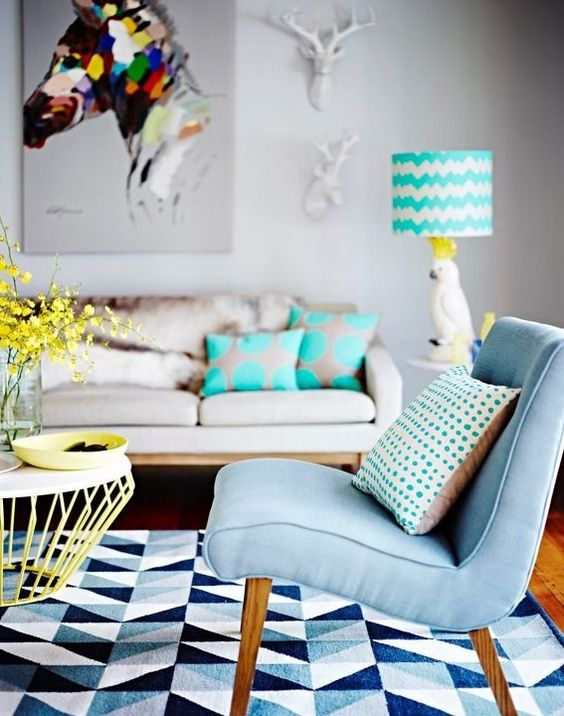 This is my dream Lounge room, from the Mozi Cockatoo Lamp, Deer Heads and the Horse Canvas, everything just works, it's chic, and a bit kitsch. Just the right amount of colour, pattern and texture. ~Sarah Cockatoo lamp. I want one!: