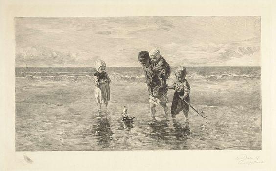 Carel Lodewijk Dake | Vier kinderen spelen met speelgoedbootje op het strand in ondiep zeewater, Carel Lodewijk Dake, 1888 - 1892 | Vier kinderen spelen met een zelfgemaakt zeilbootje op het strand in een geul gevuld met zeewater. Een jongen met een kind op de rug en twee meisjes staan in het ondiepe water en zij kijken aandachtig naar de verrichtingen van het speelgoedbootje. Achter hen ligt de branding. In ondermarge remarque met zeilboot.