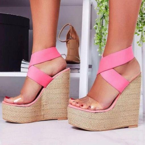 Slip On Wedge Heel Open Toe Hollow Women S Sandals Casual Shoes Women Womens Sandals Wedge Shoes