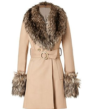 Rachel Zoe   Camel Faux Fur Trimmed Trish Coat