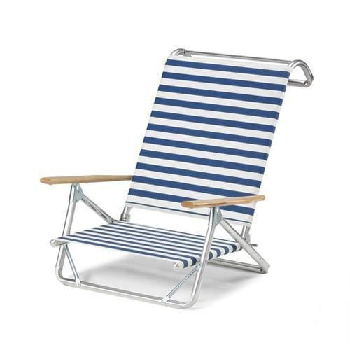 Furniture Original Mini Sun Chaise Folding Beach Chair Blue White