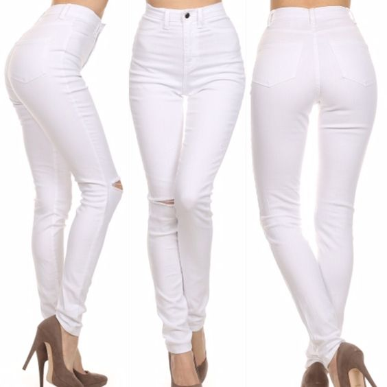High Waist White Skinny Jeans with Laser Cut Knee ||www