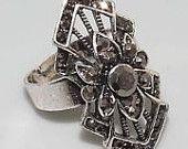 Black Onyx Vintage Style, Silver Ring Size 8