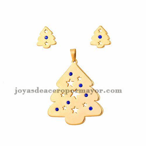 juego dije y aretes de arbol Navidad en acero dorado inoxidable para…