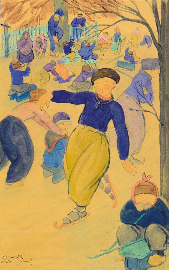 Lot 422 - Augustin Hanicotte (1870 – 1957) Enfants patinant à Volendam Aquarelle…