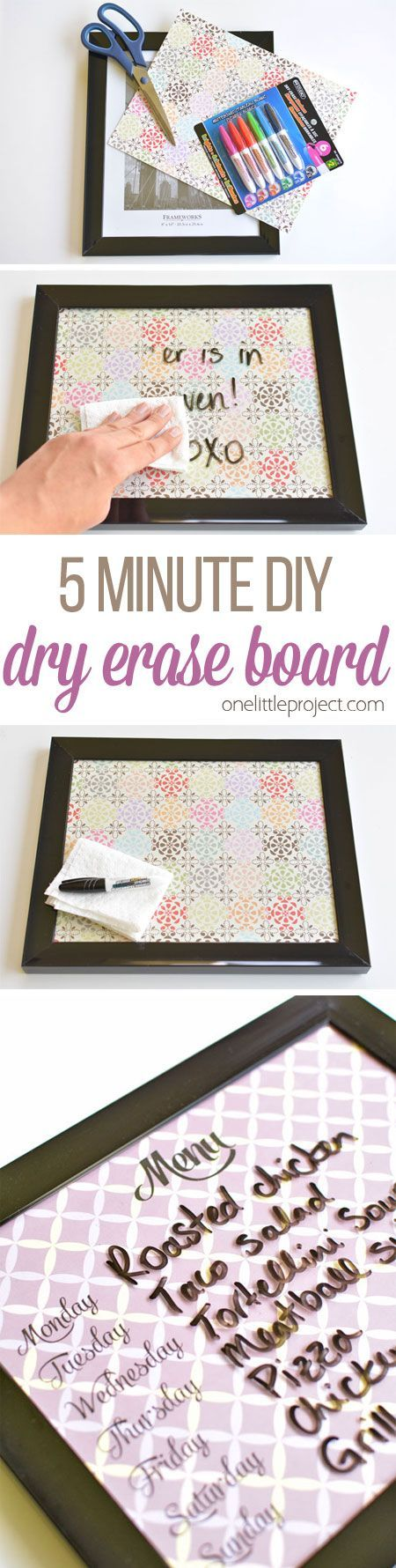 These DIY whiteboards are ridiculously easy to make. It takes less than five dollars and five minutes for each one! Such a pretty and EASY little project!: