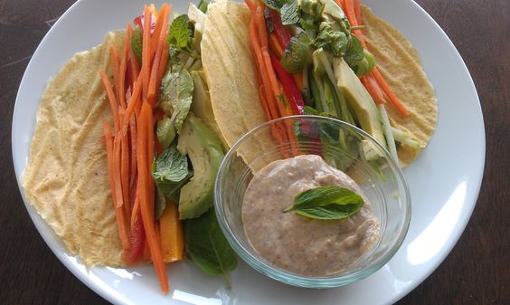, gluten free) with Crisp Veggies, Avocado, Mango, Mint, and Almond ...