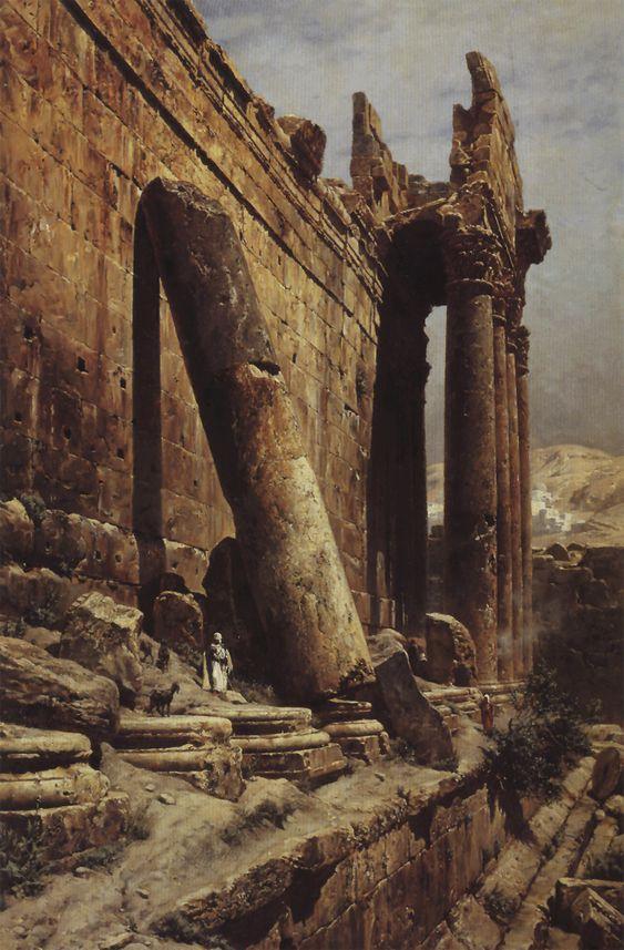 Temple Ruins of Baalbek (1882), Gustav Bauernfeind