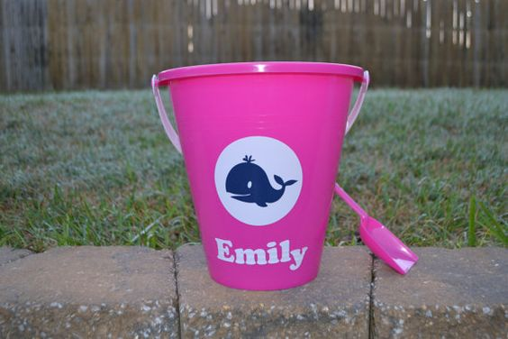 Personalized Preppy Whale Beach Bucket by ihaveafavor on Etsy, $9.95