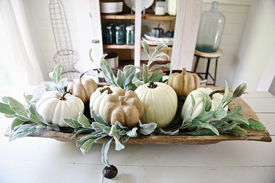 Rustic Neutral Fall dough bowl centerpiece - Lovely farmhouse style dining room.: