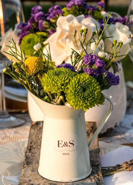 Pichet en email blanc pour décoration mariage - French Provencal Mini Decorative Pitcher