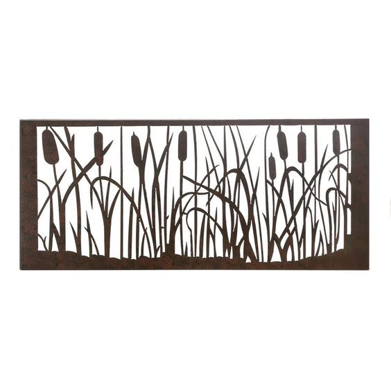"""Rustic Iron Cattail Marsh Wall Art 30"""" x 1¾"""" x 13"""" high #Unbranded #Country"""