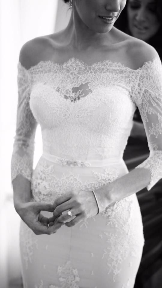 Fitting is perfect, off the shoulder is sexy, but lace sleeves are classic and romantic