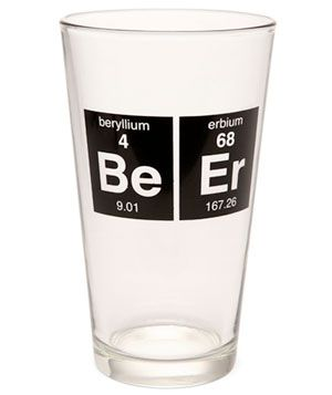 Periodic Beer Glass from ThinkGeek, $9 #dailyfinds: Beer Glasses, Better Brewing, Periodic Table, Pint Glass, Thinkgeek Periodic, Craft Beer, Drinking Glass, Periodic Beer