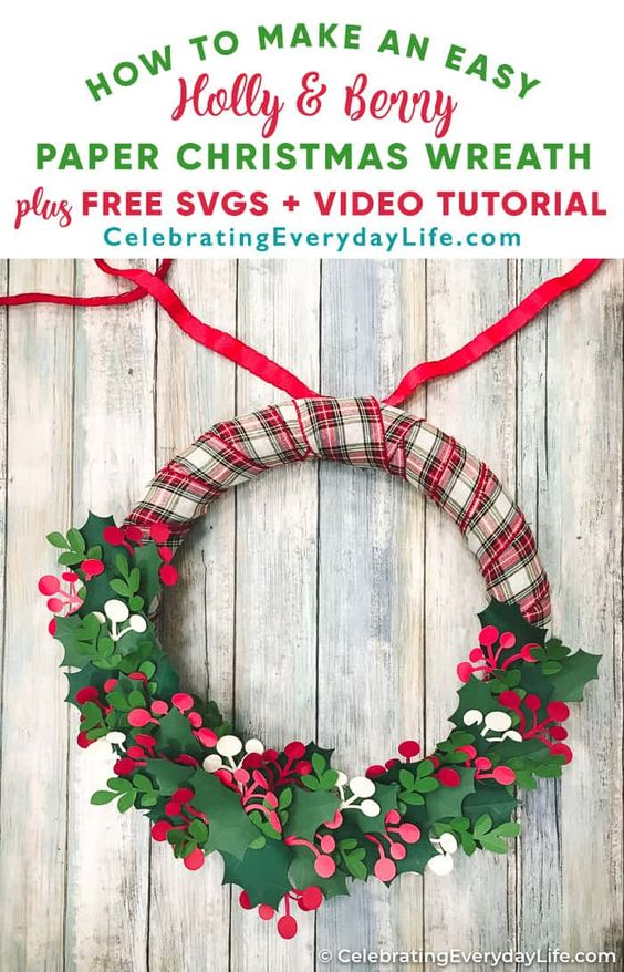 Learn how to make an easy Holly Christmas wreath with Cricut out of plain paper and ribbon! This is a simple craft you can do to celebrate Christmas in July! This step-by-step video tutorial takes you through the entire project and includes a link to the FREE SVG or PDF files to help you make it!