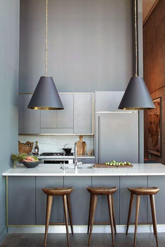 graue küche elegant holzhocker Home Pinterest Graue küchen