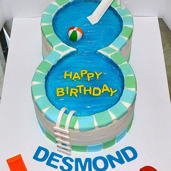 Birthday Cake Ideas For A Pool Party : 25 Pool Party Cakes That Make a Splash! Pool Party Cakes ...