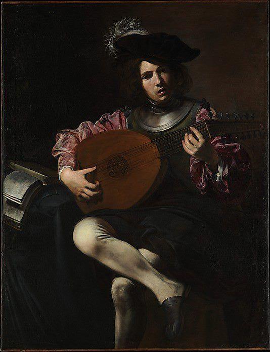"""Hermosura de luz y sombras en """"The lute player"""" del pintor francés Valentin de Boulogne, seguidor de Caravaggio."""
