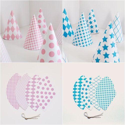 preciosos sombreros de cono para fiestas de cumpleaos
