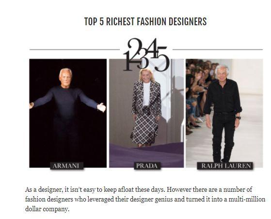 Top 5 Richest Fashion Designers Fashion Design Fashion Design