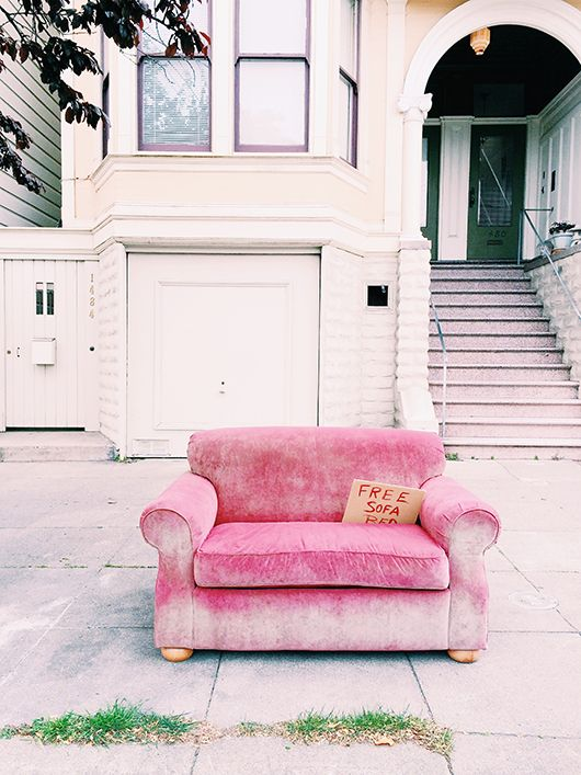photograph of pink velvet chair with sign from See San Francisco. / sfgirlbybay