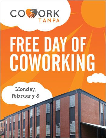 This Monday, February 8th, is our free day of coworking for the month! If you are even considering joining, please come out and check out the space and network with our members. #cowork #tampa #freecoworking #coworking #tampabay #tpa #free