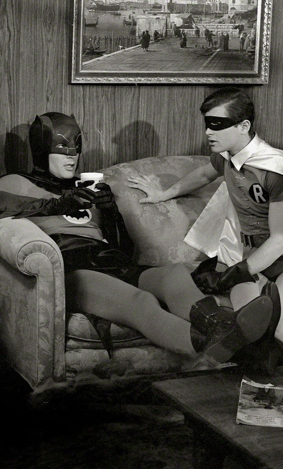 Adam West & Burt Ward on the Bat-Set (1966) by Richard Hewitt for Look Magazine